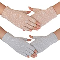 Flammi Women's Fingerless Sun Gloves Cotton Driving Gloves UV Protection