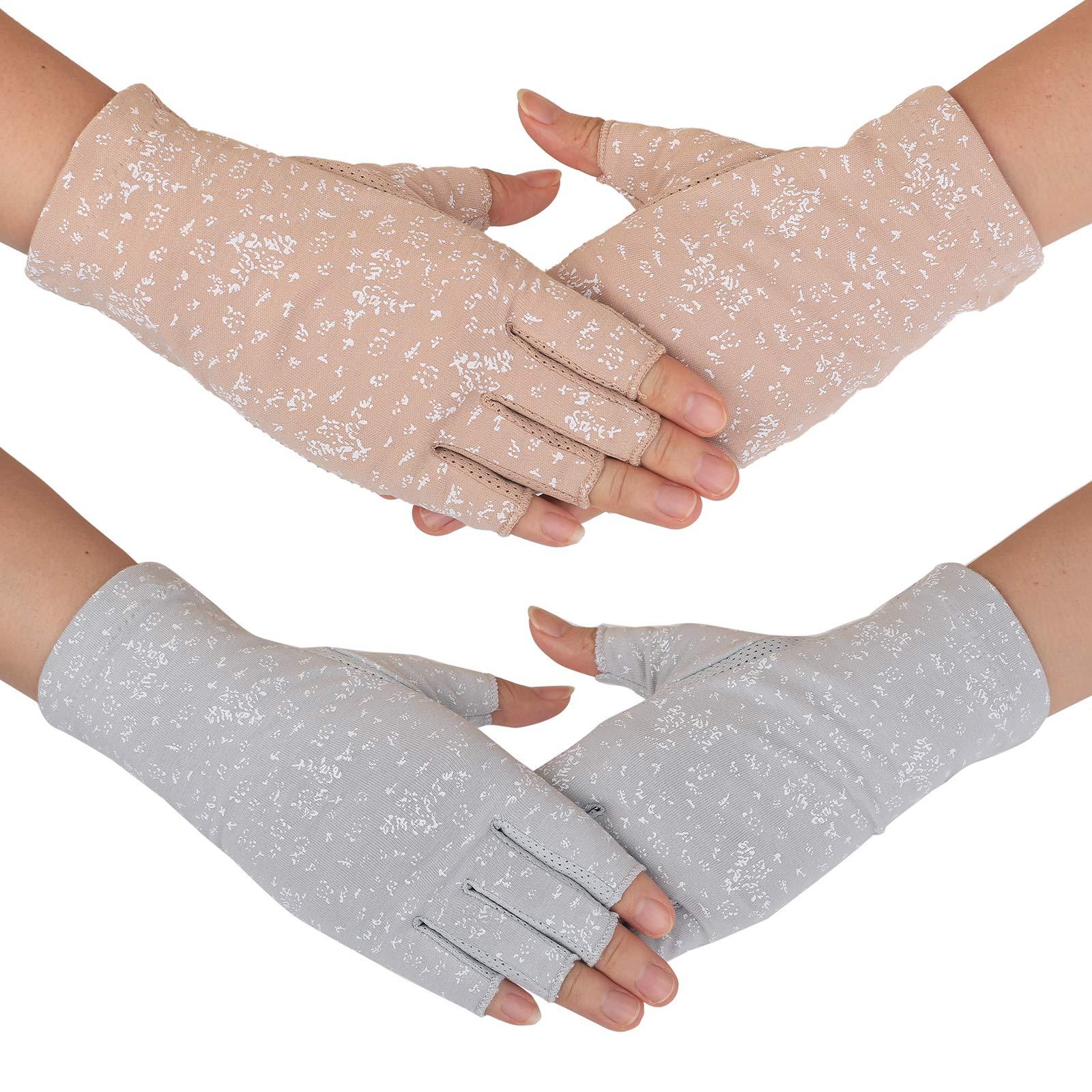 Flammi Women's UV Protection Fingerless Sun Driving Gloves Cotton Non Skid Palm (Khaki, Grey)