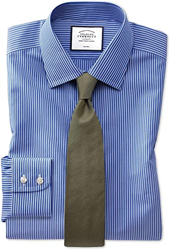 Charles Tyrwhitt Camisa Azul y Blanca Slim fit sin Plancha a ...