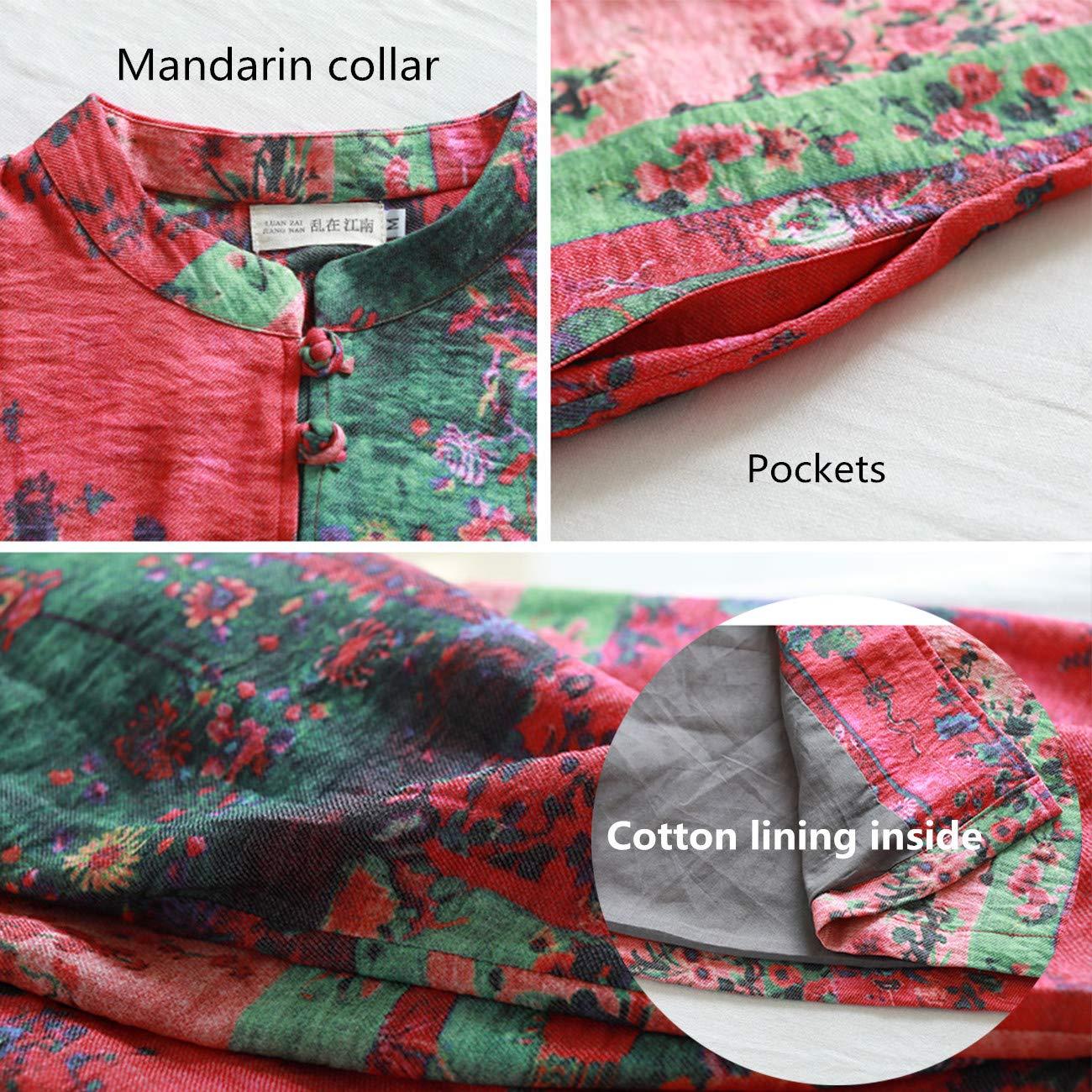 LZJN Women Cotton Linen Trench Coat Chinese Style Long Jacket Multicolor
