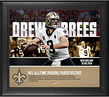 sports shoes 5a6f6 fed48 Drew Brees New Orleans Saints Framed 15'' x 17'' NFL Passing Yards Record  Collage - NFL Player Plaques and Collages
