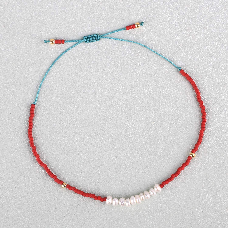 KELITCH Shell Pearl Seed Bead Friendship Bracelets Handmade Adjustable String Bracelets