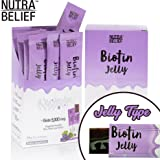 Nutra Belief Daily Edible Biotin B7 Vitamin Jelly, Better Than Gummies, Boosts Natural Hair Growth, Radiant Skin and Strong Nails - 5000 mcg - Grape Flavor