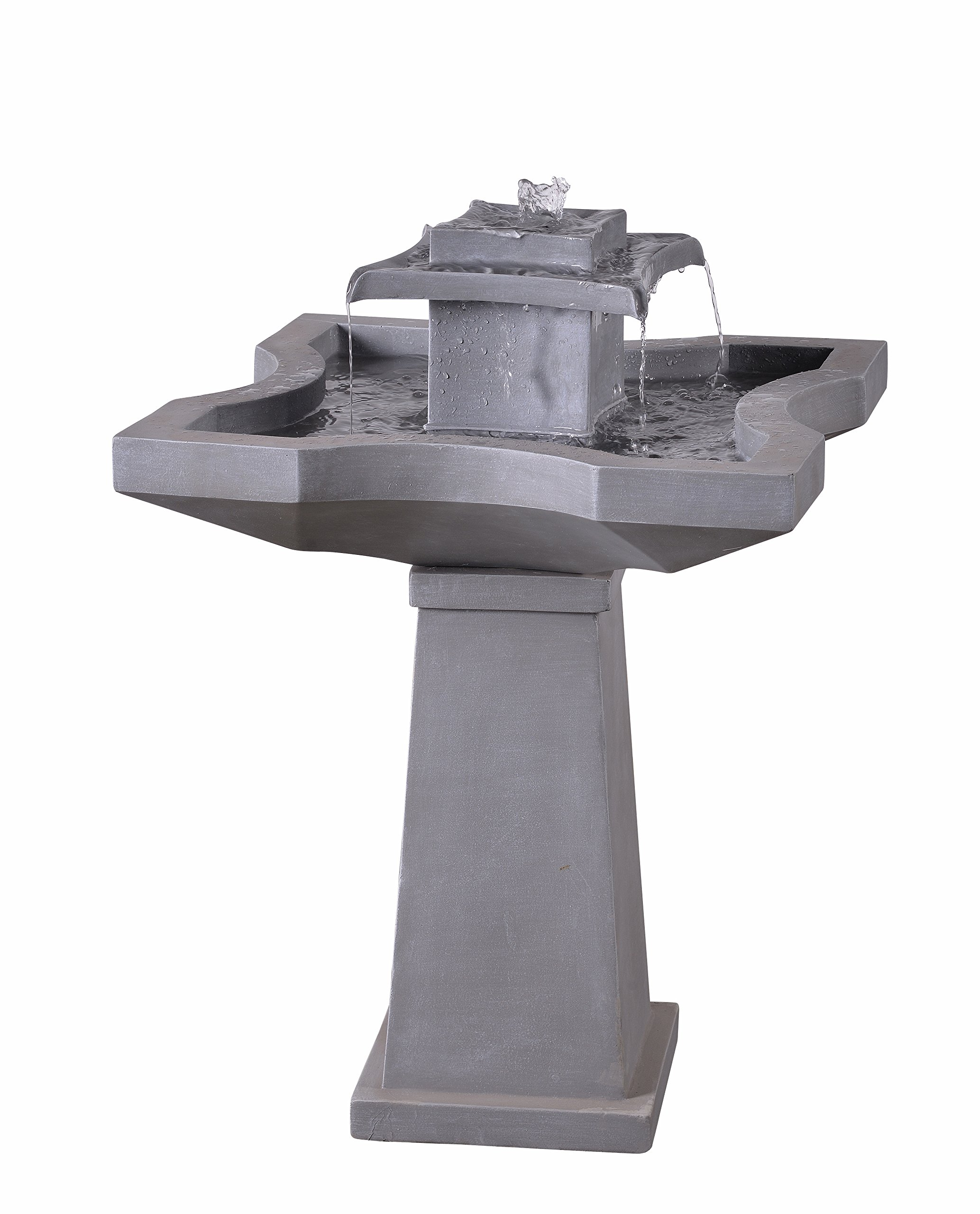 Kenroy Home 51057CON Quad Outdoor Floor Fountain, 32 Inch Height, Concrete Finish - FILL LINE:  Allows you to easily know when the water is running to low to keep the pump covered DIMENSIONS: 31 inch Height, 22 inch width, 22 inch Ext PUMP PERFORMANCE: Our pumps feature industry-leading motors and components, tuned for optimal performance - patio, fountains, outdoor-decor - 8189pOlCh L -