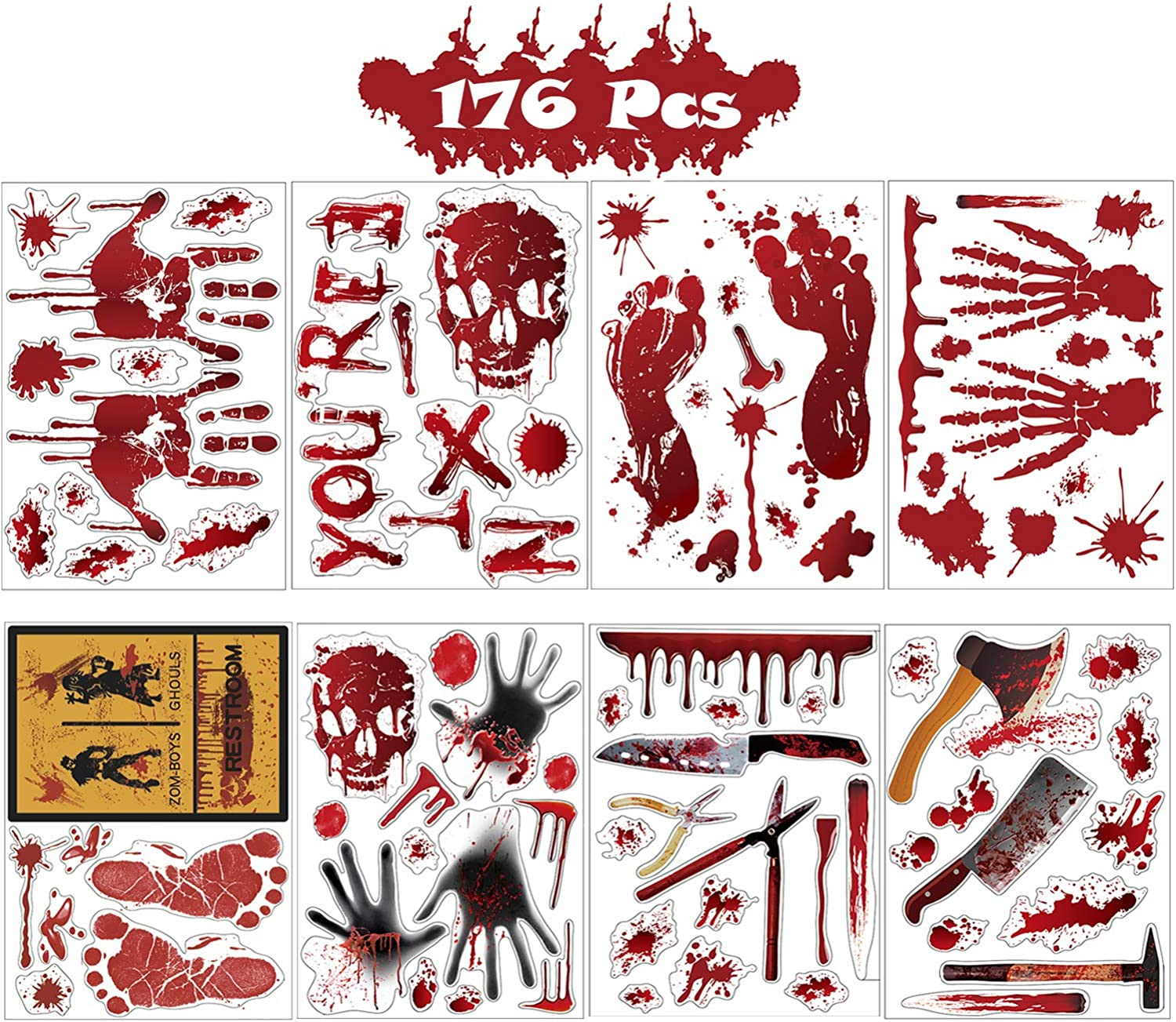 Halloween Decorations Window Stickers, Bloody Handprint Footprint Weapon Decals Floor Clings Creepy Bathroom Car Decor (176 Stickers)
