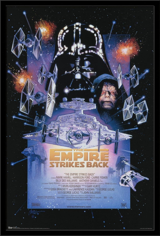 "Trends International 24x36 Star Wars: The Empire Strikes Back - One Sheet, 24"" x 36"", Black Framed Version"