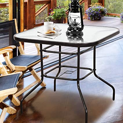 Homevibes 32u0026quot; Outdoor Patio Dining Table Tempered Glass Top Bistro Table  Top Umbrella Stand Square