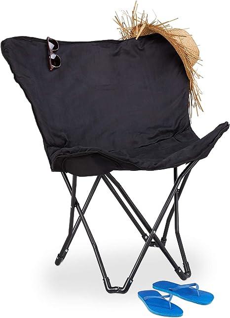Relaxdays Silla Camping Plegable Butterfly Chair con Diseño Mariposa, Negro, Acero y PVC, 86,5 x 82,5 x 61 cm