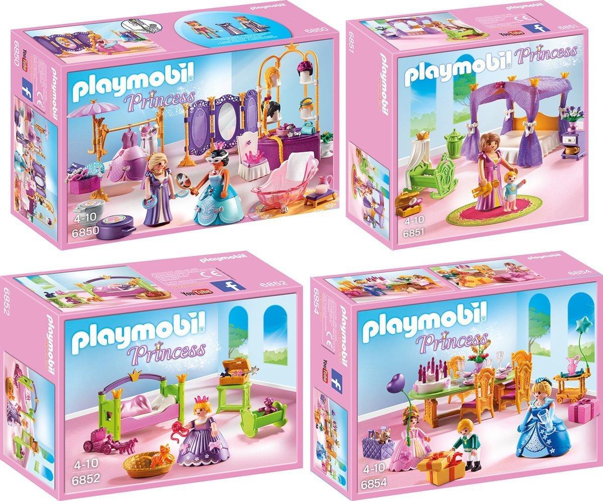 playmobil princess set en 4 parties 6850 6851 6852 6854 salon de beaut chambre cleste chambre de princesse fte danniversaire amazonfr jeux et - Playmobil Chambres Princesses
