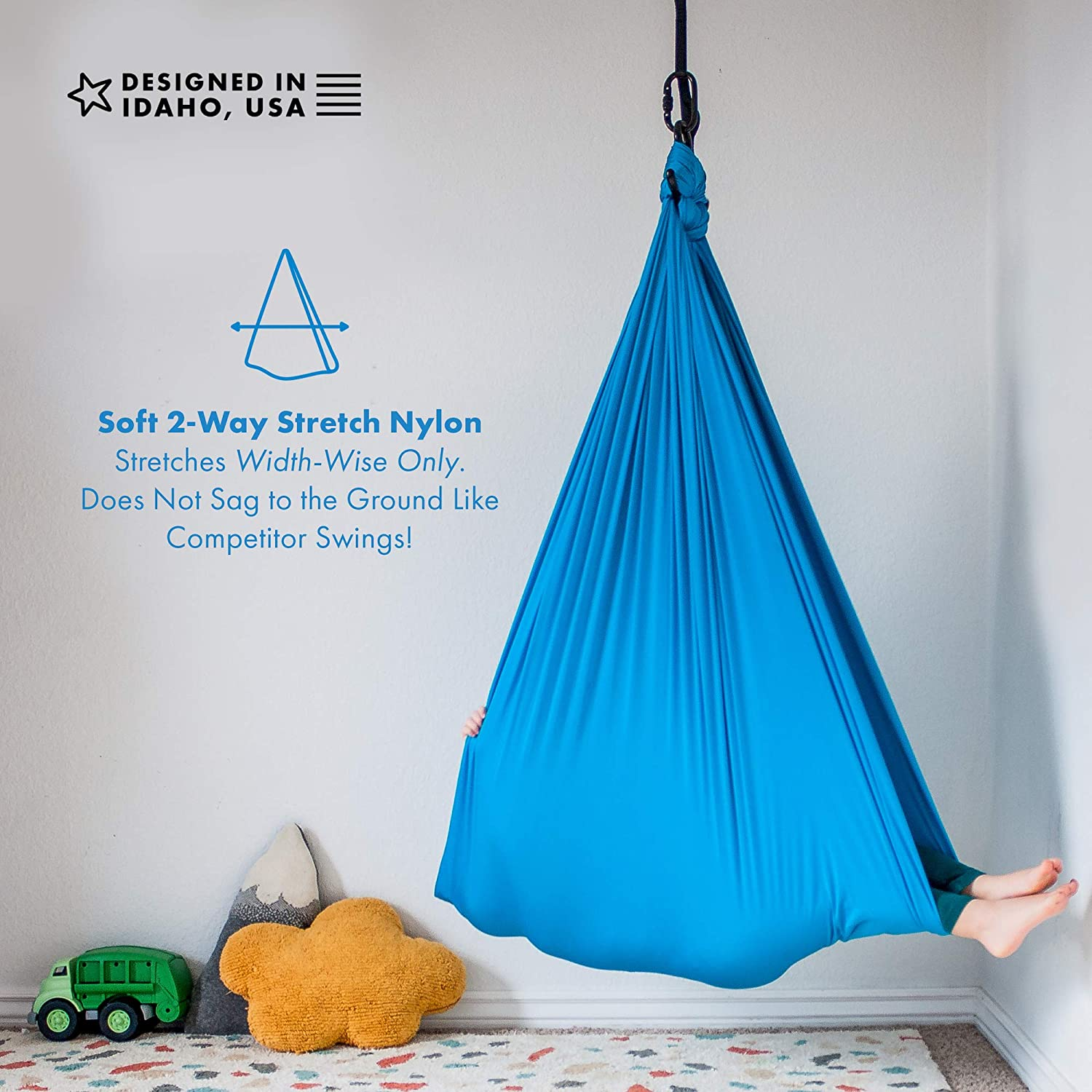 Blue Aspergers Syndrome and SPD Hardware Included with Special Needs,Snuggle Hanging Cuddle Hammock for Autism ADHD Sensory Swing for Children AVAH Indoor Therapy Swing for Kids /& Adults