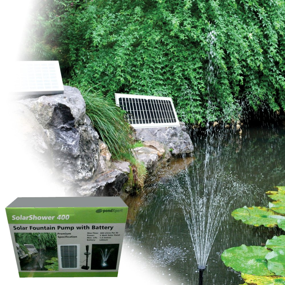 PondXpert SolarShower 400 Solar Pond Pump with Battery and LED Lights.NEW Lithium Battery. Attractive Solar Fountain.