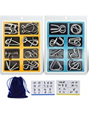 Padike IQ Toys, IQ Test Mind Game Toys Brain Teaser Metal Wire Puzzles Magic Trick Toy,Metal puzzle(16 Pack)