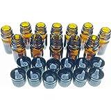 5 Ml Amber Glass Bottle W/euro Dropper. Black Cap. 12 Pack