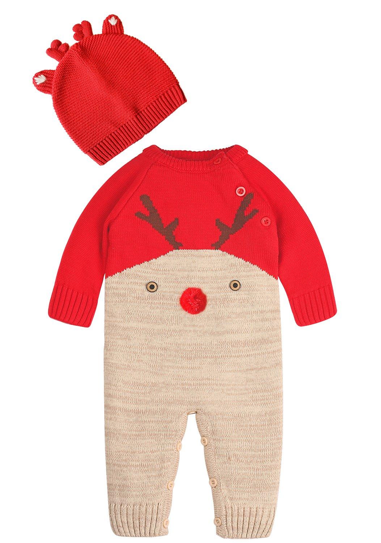 ZOEREA neonato bambino Maglione Unisex Disegno del modello dei cervi Autunno e inverno Chir Natale per 0-2 anni Y84RD70
