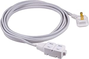 GE, Gray & White, 12 Ft Extra Long Designer Braided Extension, 3 Strip, 2 Prong Outlets, Flat Plug, Tangle-Free Power Cord, Perfect for Home, Office or Kitchen, UL Listed, 42385