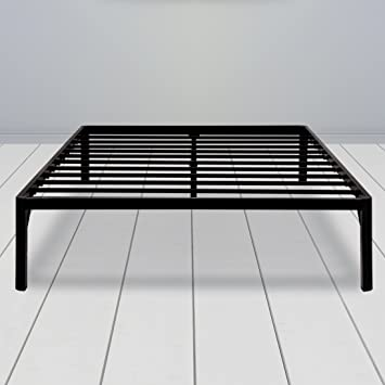 sleeplace 16 inch high profile round edge tall steel slat bed frame ss 3000 - High Queen Bed Frame