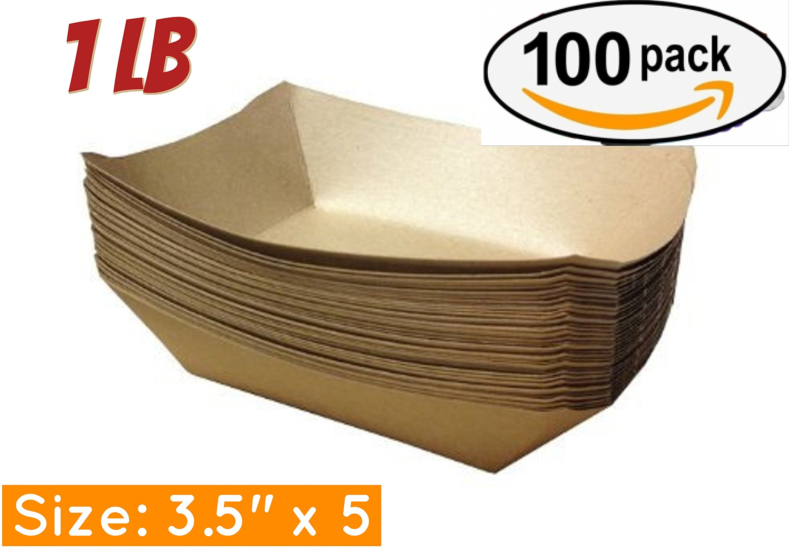 Brown Kraft Paper Food Trays- Set of 100 Sturdy and Recyclable Great for Parties, Takeout, Home Use, Outdoor (100, 3.5'' x 5'', 1 lb)