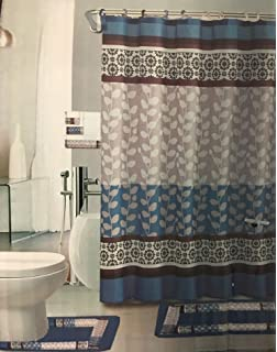 Riely Blue 18 Piece Bathroom Set 2 Rugs Mats 1
