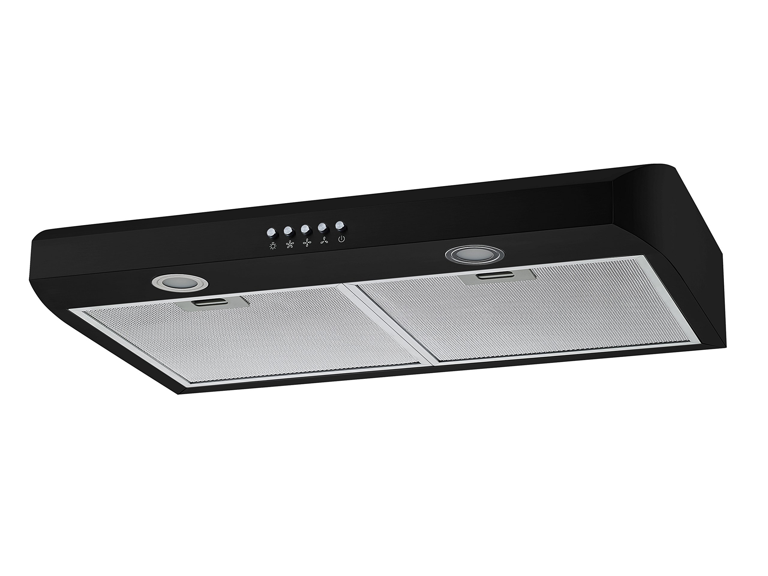 Winflo 30'' Under Cabinet Black Color European Slim Design Kitchen Range Hood Push Button Control Included Dishwasher-Safe Aluminum Filters and LED Lights