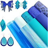 AUXIN 8 Pcs Mixed Blue Series A4 Size Faux Leather Sheets Bundle for Earrings Bows Purses Making, Assorted Synthetic…