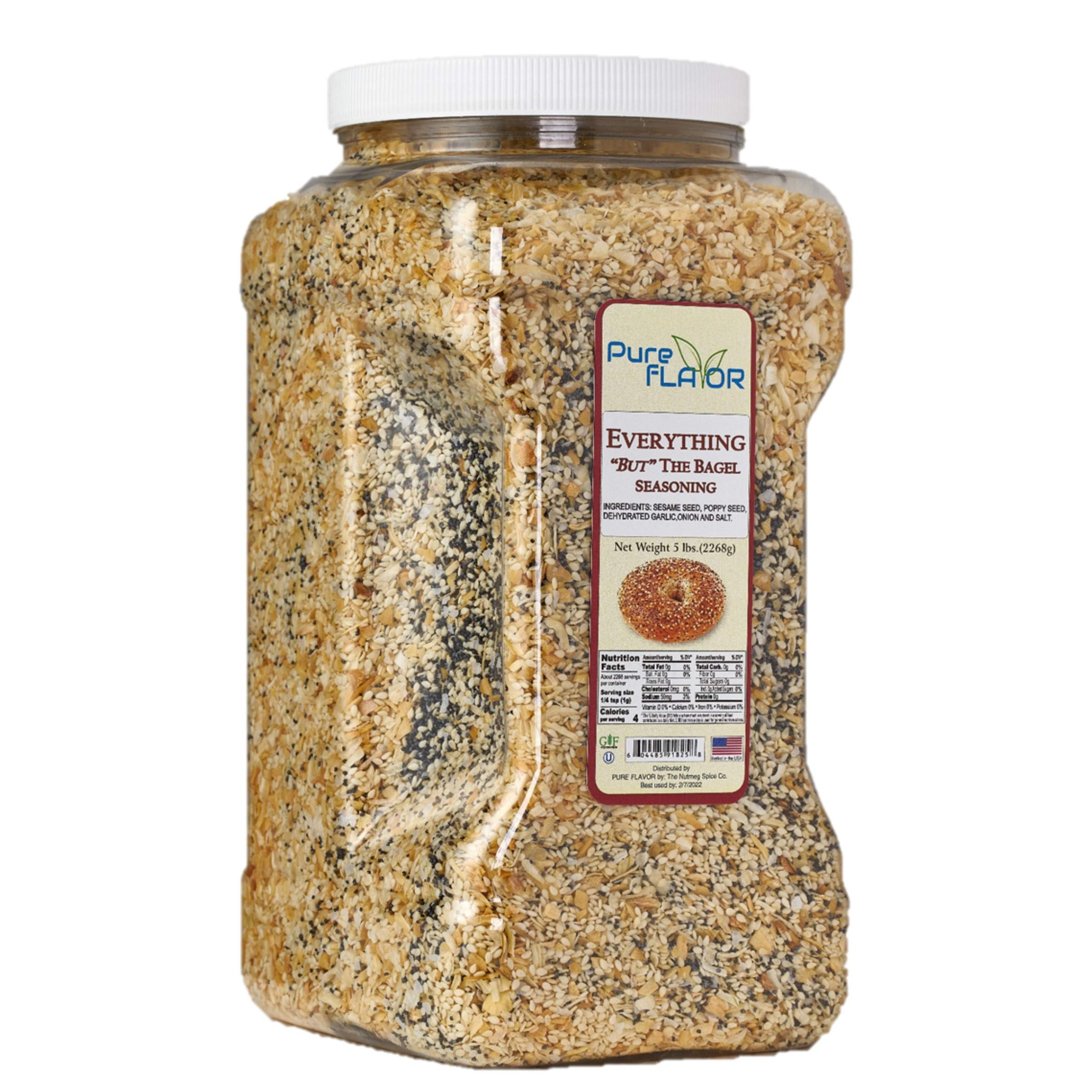 Everything Bagel Seasoning Blend, 5 lbs Bulk Jar (80 oz) - All Natural, All Purpose Specialty Spice Mix - Sea Salt, Dried Onion, Poppy Seeds, Sesame, Garlic Powder and More
