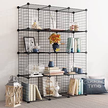 Tespo Wire Storage Cubes Modular Shelving Unit DIY Metal Grid Closet  Organizer System, Bookcase,