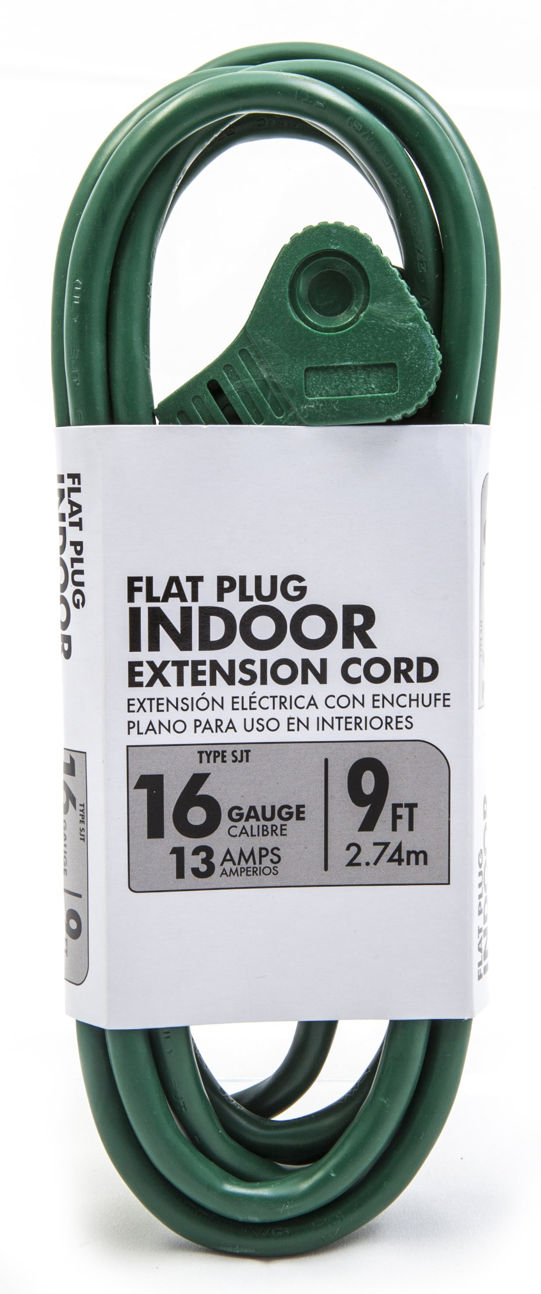 Southwire 50294801 16/3 SJT Flat Plug Banana Tap Extension Cord, 9-Feet, Green