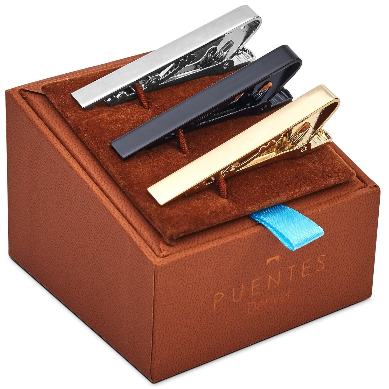 3-er Packung Krawattenklammer / Krawattennadel 5.4 cm Silber, Goldfarben, Schwarz Für Krawatte im Geschenketui, Geschenkset PC-TC-SET-10-C