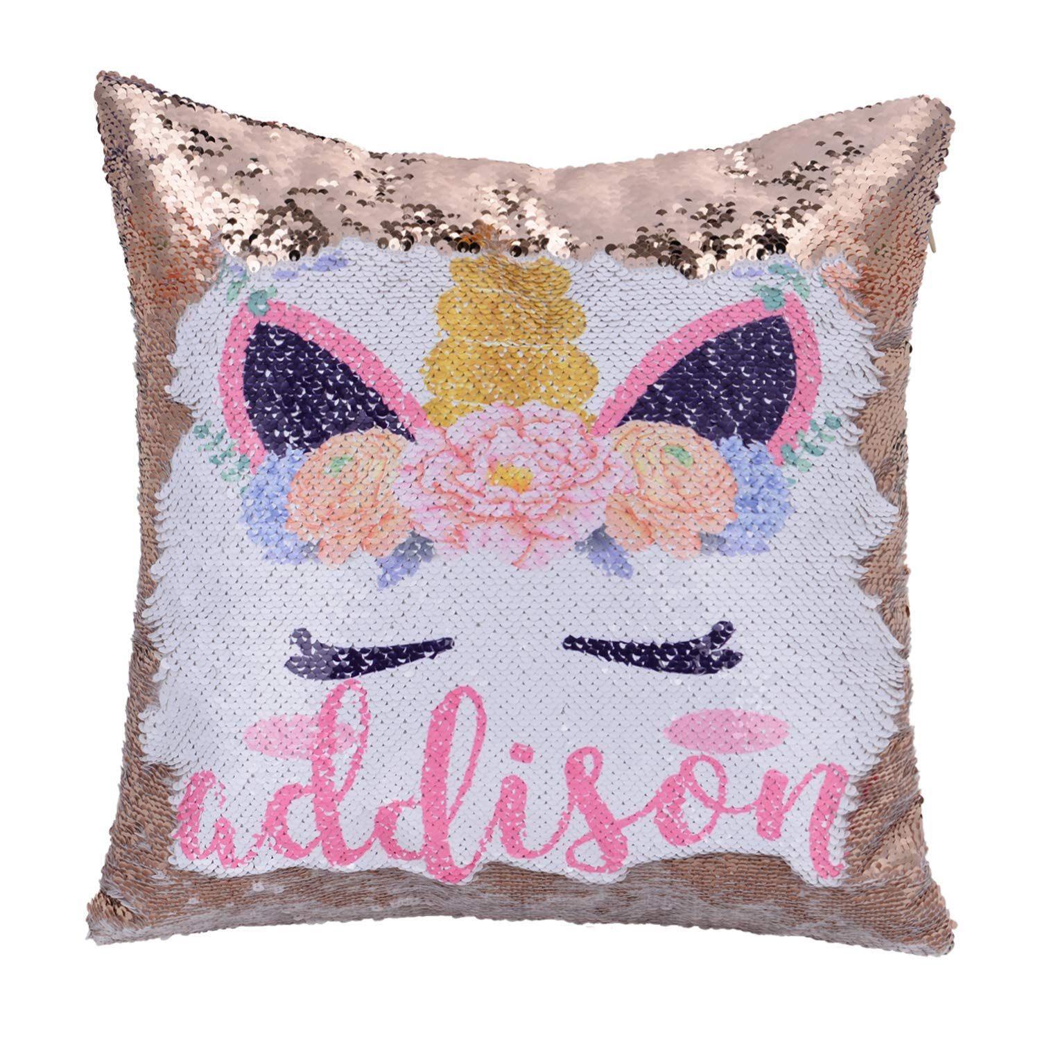 Linkes Personalized Mermaid Reversible Sequin Pillow, Custom Unicorn Sequin Pillow for Girls(White/Rose Gold) by Linkes