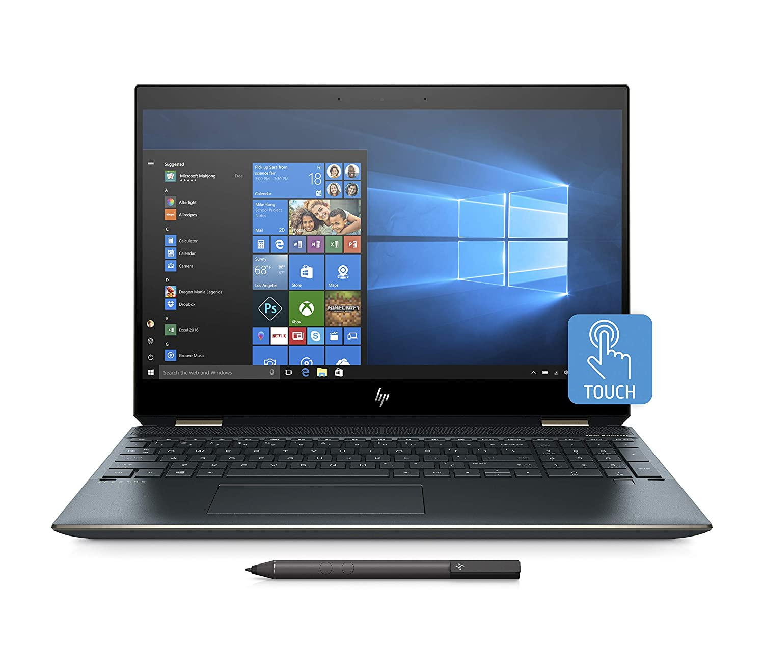 "HP Spectre x360 15-df0006nl Notebook Convertible, i7-8750H, RAM 16 GB, SSD 512 GB, NVIDIA GeForce GTX 1050 Ti, Audio Bang & Olufsen, Display 15"" Touchscreen 4K, Blu"