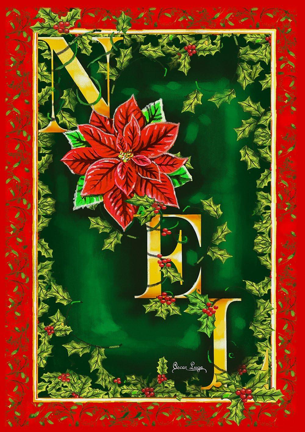 Toland Home Garden Noel 28 x 40 Inch Decorative Christmas Holiday Poinsettia House Flag