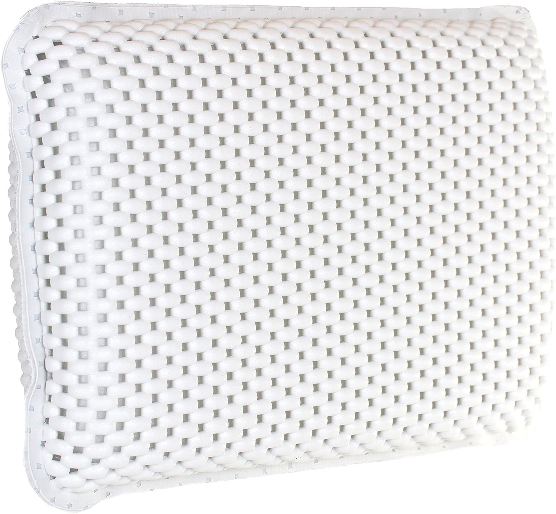 Brandsseller Cojín cervical para bañera con 8 fuertes ventosas, diseño de gofres, cojín de spa de espuma suave con efecto viscosa, PVC impermeable, aprox. 29 x 19 x 5 cm, color blanco