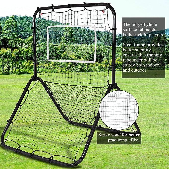 Baseball Practicing Rebounder Net,57x36 inch Double-Sided Multi-Sport Return Trainer Net Muti-Sport Return Trainer Net