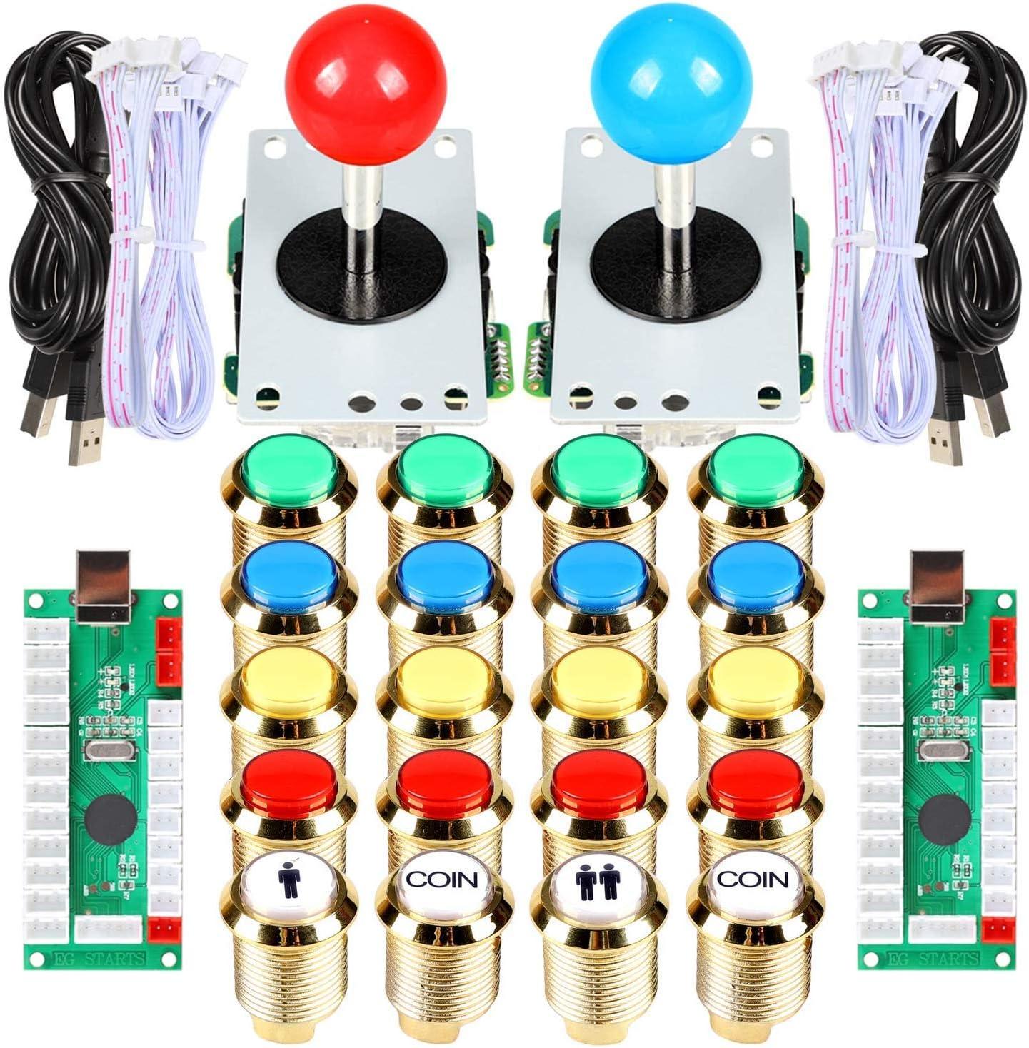 EG STARTS Classic Arcade DIY Kit Parte Set 2x 5 Pines Joystick 18x Chapado en oro LED Botón iluminado 1 2 Player Coin 30mm Botones dorados Lights para Arcade MAME & Arcade Cabinet & Raspberry