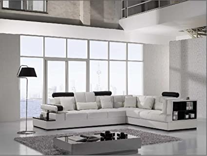 Amazon.com: Vig Furniture T117 Modern White Leather Sectional Sofa ...