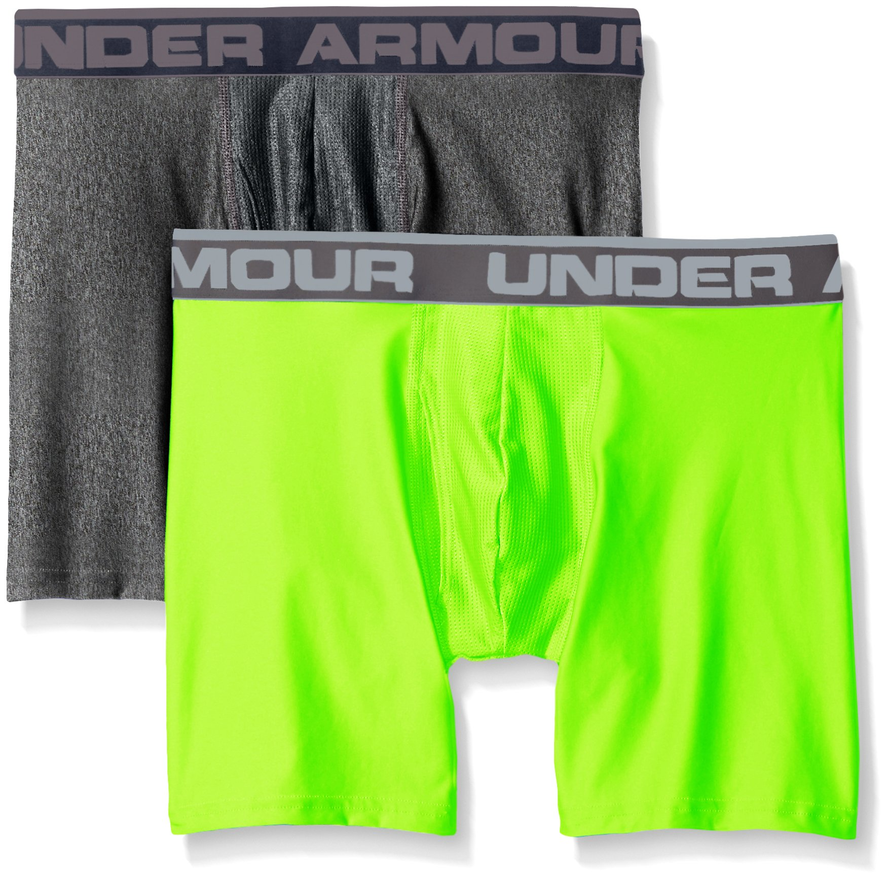 "Under Armour Men's Original Series 6"" Boxerjock, Carbon Heather/Hyper Green, Medium, Pack of 2"