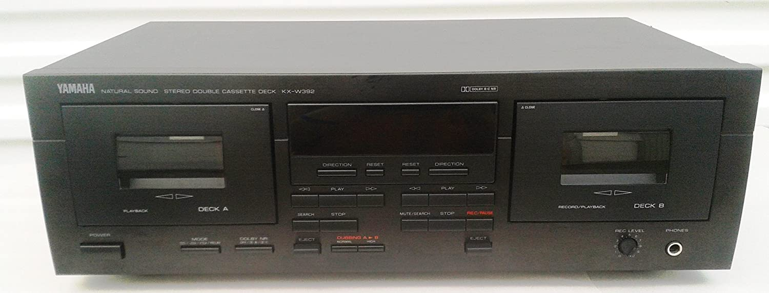 Yamaha KX-W392 Recordable Auto Reverse Dual Cassette Tape Deck with Complete with AV Cables and Online Instruction Manual