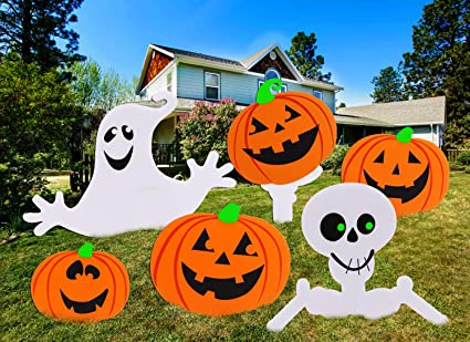 Aobuy Halloween Decorations Outdoor Cute Pumpkin Ghost Corrugate Yard Signs Outdoor Halloween Yard Decorations Pack Of 6