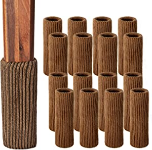 Goo-Ki Chair Leg Protectors for Hardwood Floors, 16Pcs High Elastic Knitted Non Slip No Scratch Noise Furniture Socks, Suitable for Most Round or Square Furniture Feet, Brown