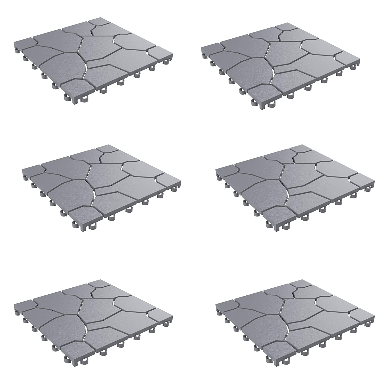 Pure Garden 50-LG1171 Patio and Deck Tiles – Interlocking Stone Look Outdoor Flooring Pavers Weather Resistant and Anti-Slip Square DIY Mat (Grey Set of 6),