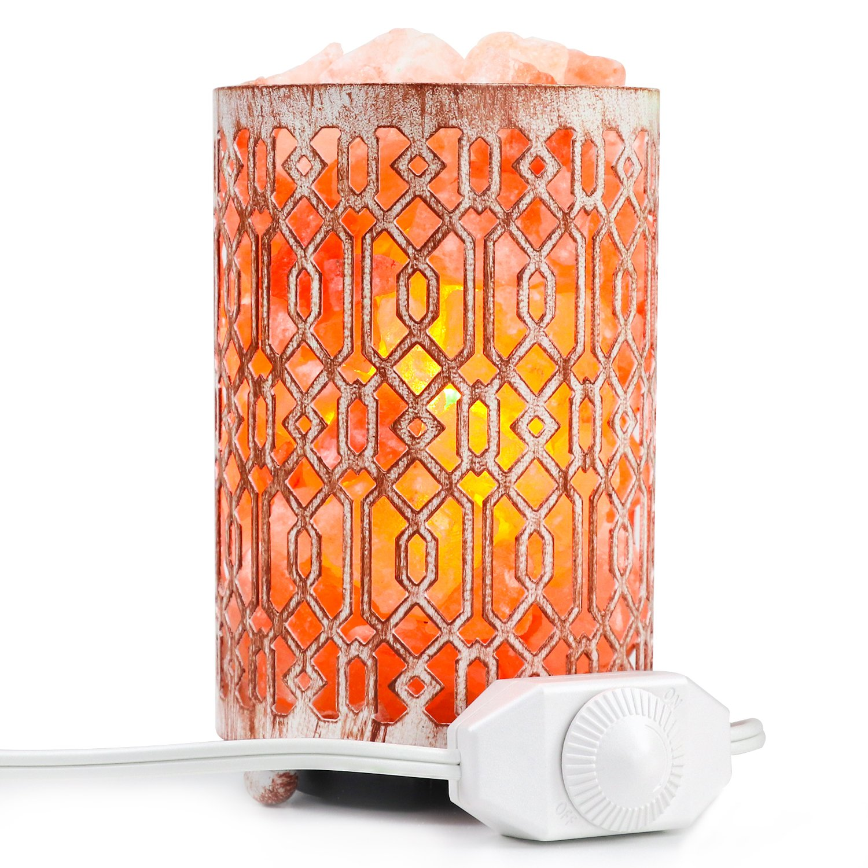 Natural Himalayan Salt Lamp, Hymalain Pink Rock Salt Lamps in Metal Basket with Dimmer Switch 4-6 lbs Himilian Salt Night Light 25Watt Bulb & ETL Certified Cord(4.1x6.5'') Decorations & Gifts-SALKING