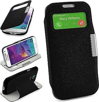 Bolso OneFlow para Funda Samsung Galaxy S4 Mini Cubierta con Ventana | Estuche Flip Case Funda móvil Plegable | Bolso móvil Funda Protectora Accesorios móvil protección paragolpes en Deep-Black: Amazon.es: Electrónica