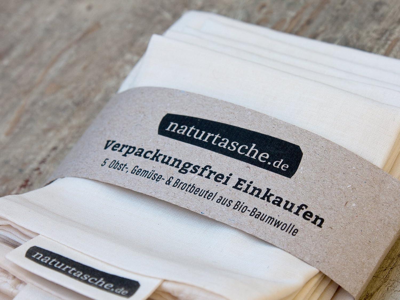 naturtasche 5er-Set, Obst- und Gemüsebeutel, Brotbeutel, Wiederverwendbar, Bio-Baumwolle, Fair genäht in Böhmen Obst- und Gemüsebeutel naturtasche.de