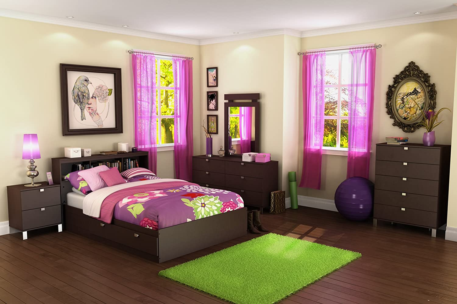 Amazon.com: South Shore Furniture Cakao Collection Full Mates Bed,  Chocolate: Kitchen U0026 Dining