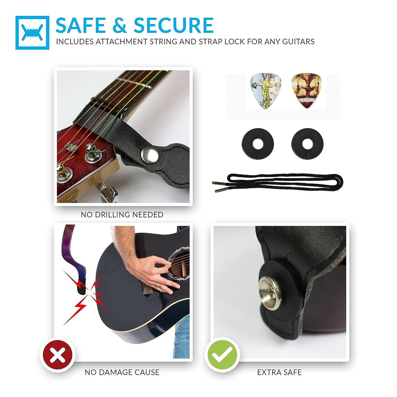 2x Schaller Style Straplocks Electric Acoustic Guitar Bass Strap Locks Buttoha