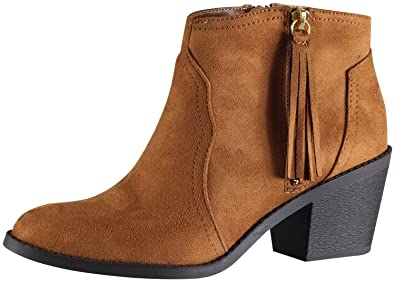 Soda Women's Rowley Faux Suede Tassel Cowboy Ankle Boot , mve shoes rowley  TAN NB size