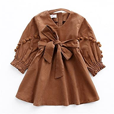 Meetloveyou Autumn Vintage Style Baby Girl Velvet Dress Bowknot Lantern Sleeve Winter Kids Corduroy Pompoms Dresses