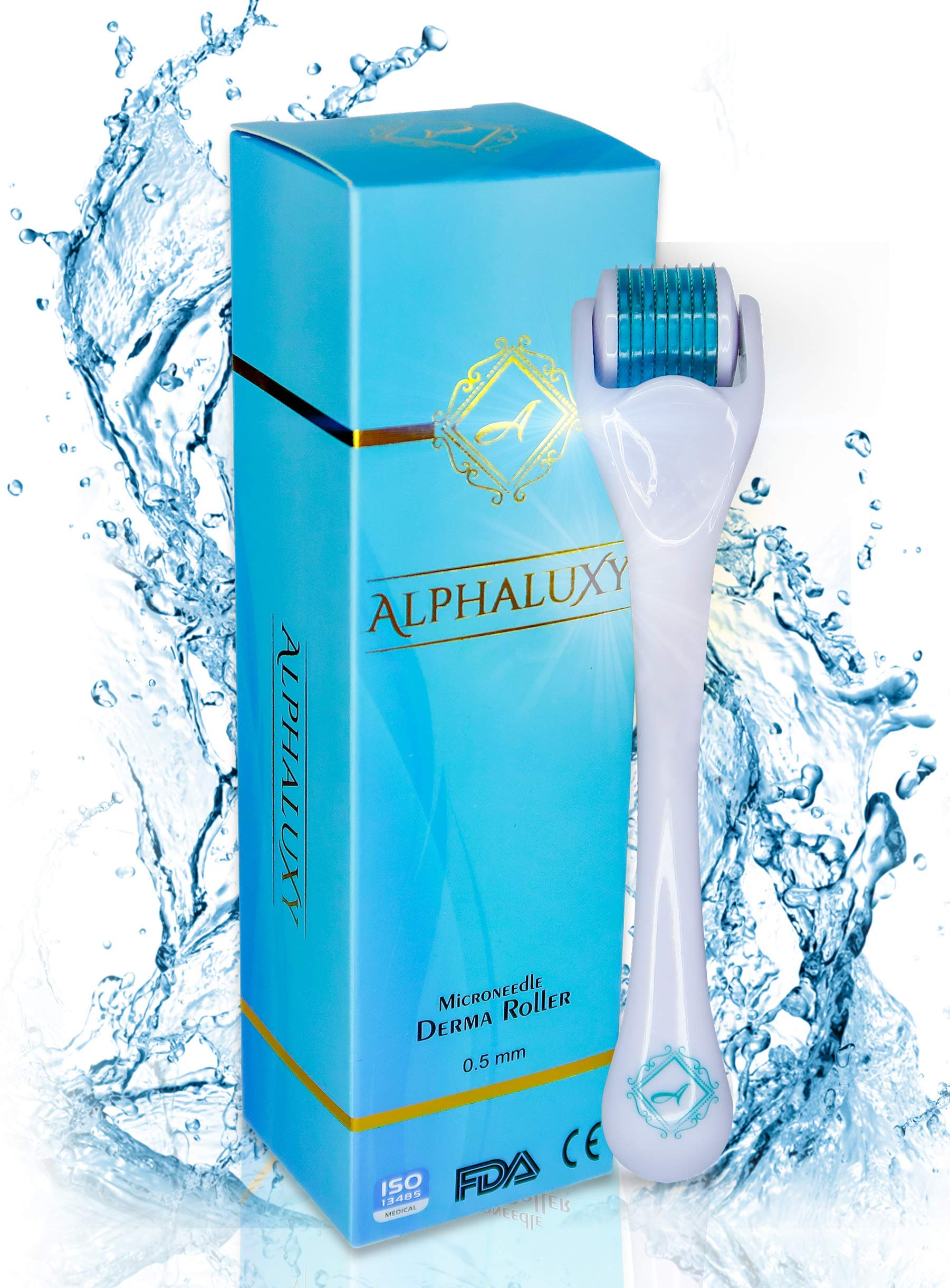 ALPHALUXY Best 0.5mm Derma Roller for Hair & Beard Growth and Acne Scar Treatment | Professional Titanium 540 Needles Microneedle Dermaroller | Extensive Instructions & Free Ebook + Full Warranty