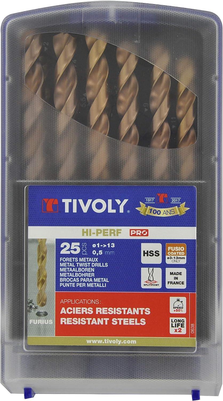 Tivoly 11454170017 G - Caja de 25 brocas metálicas DIN 338 FURIUS HSS revestidas de fuego, diámetro de 1 a 13 mm ...