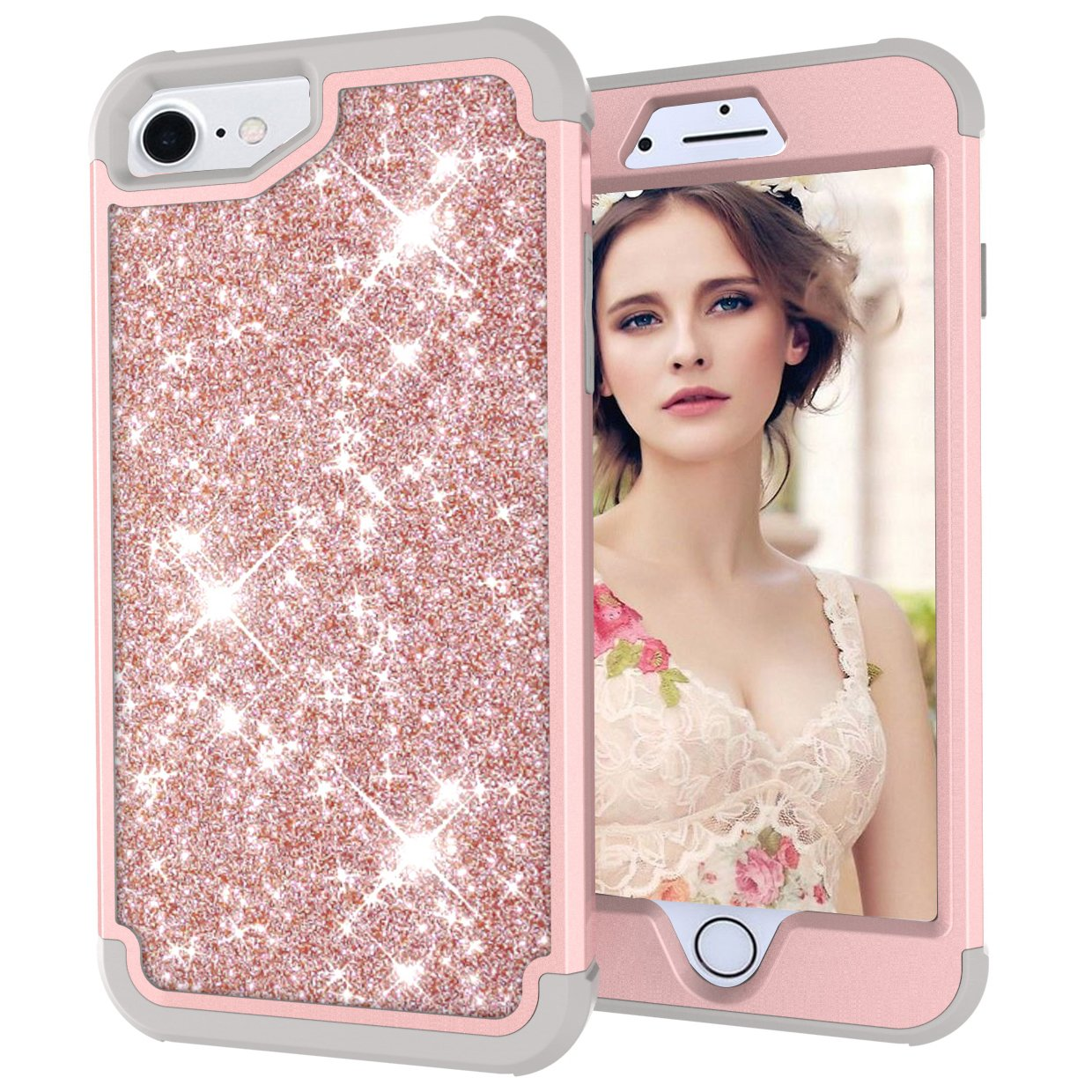 iPhone 8/iPhone 7/iPhone 6S/iPhone 6 Case,Yoomer Fashion Shining Bling Diamond Rhinestone Luxury Glitter Sparkle Three Layer Hybrid Sturdy Armor Shockproof Protective Cover for iPhone 8/7/6S/6 4.7""